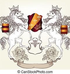 Design with heraldic elements ho - Vector heraldic...