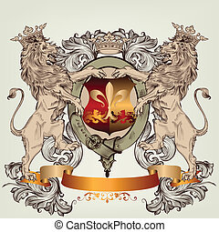 Design with heraldic elements - Vector heraldic illustration...