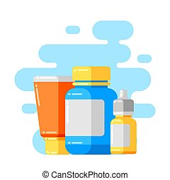 Design with medicine bottles and pills.