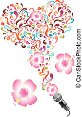 Design with microphone,  abstract swirls and flowers