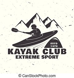 Design with mountain and kayaker silhouette