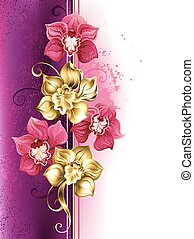 Design with orchids - Design with gold and bright pink...