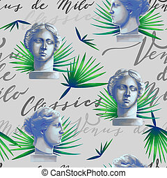 Design with Venus de Milo sculptures, palm leaves and script