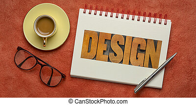 design word abstract in wood type