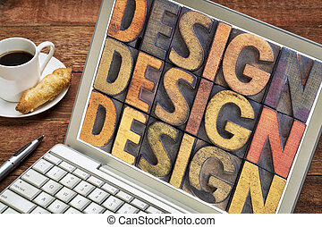design word abstract on laptop screen