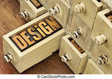 design word - concept in wood type