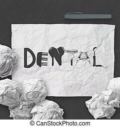design word DENTAL on white crumpled paper and texture background as concept