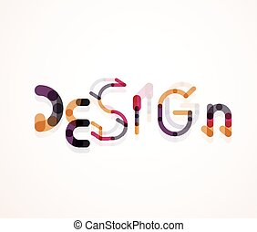 Design word font concept, minimal line design