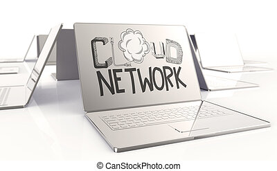 design word hand drawn CLOUD NETWORK and 3d laptop computer as concept