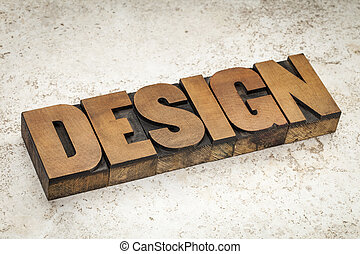 design word in wood type