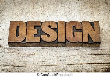design word in wood type
