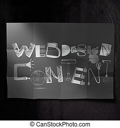 design word WEB DESIGN CONTENT on dark crumpled paper and texture background as concept