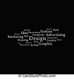 design word white illustration on black background