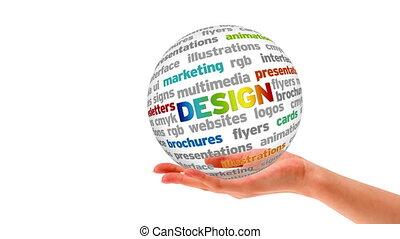design, wort, kugelförmig