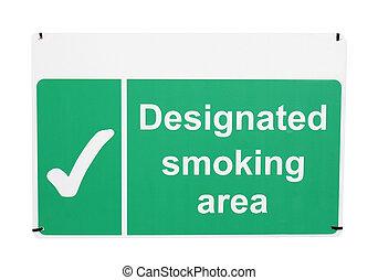 Designated smoking area sign isolated on white background.