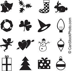 designations, divers, noir, colour., fetes