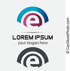 design.creative, logotipo, e, lettera