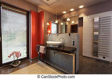 Designed bathroom with a vessel sink - Designed bathroom...