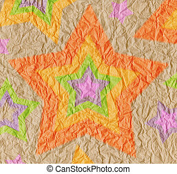 Designed crumpled vintage paper background with stars of bright rainbow colors