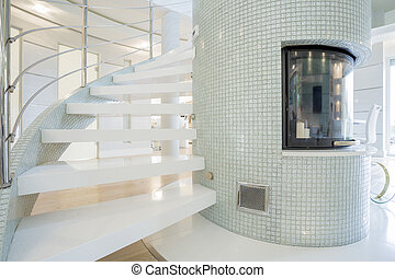 Designed fireplace inside expensive house