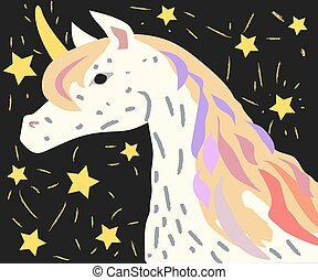 Designed for children. Picture of Unicorn with fancy hair. Unicorn Vector Icon on black background with falling stars.
