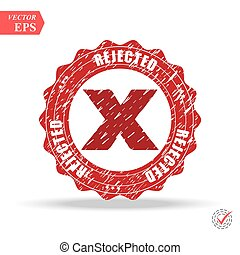 Designed for web and software interfaces. Rejected. stamp. red round grunge vintage rejected sign