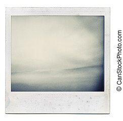 Designed grungy instant film frame with abstract filling isolated on white, kind of background, vintage hard grain effect added