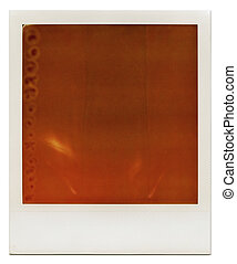 Designed grungy instant film frame with abstract orange filling, isolated on white, kind of a background, vintage hard grain effect added