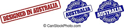 DESIGNED IN AUSTRALIA Scratched Stamp Seals