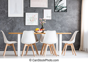 Designed loft with long table