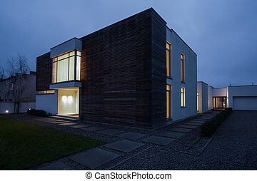 Designed residence in the evening