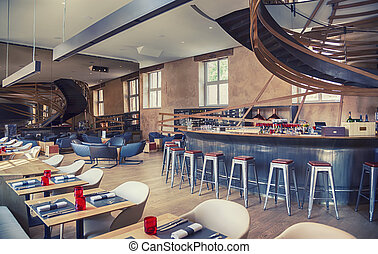 designed restaurant in antique old building