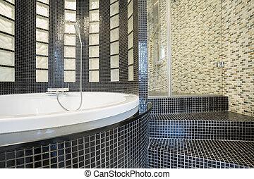 Designed shower in gleaming bathroom - Close-up of designed...