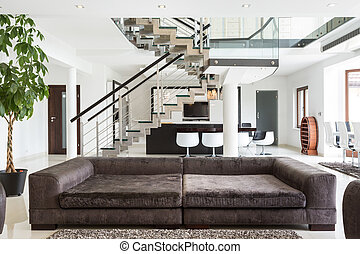 Designed sofa in expensive house - View of designed sofa in...