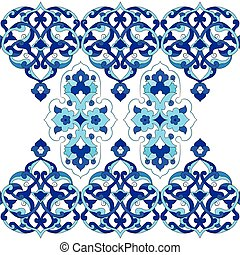 designed with shades of blue ottoman pattern series two -...