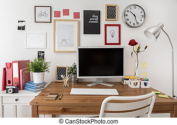 Designed modern workspace with white desktop computer