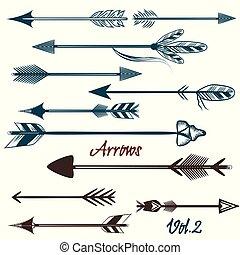 design.eps, tribale, vettore, frecce, collezione