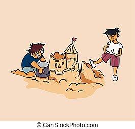 designer and tester concept vector illustration sand castle crush, envy, criticism