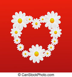 designer background heart from the flowers of white color