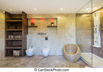 Designer bathroom in modern apartment