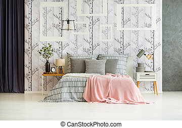 Designer bedroom with king-size bed