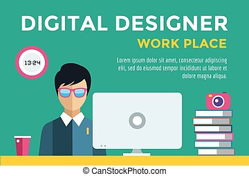Designer boy at workplace vector silhouette