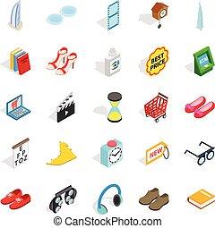 Designer clothing icons set, isometric style