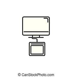 designer computer tablet technology icon line design