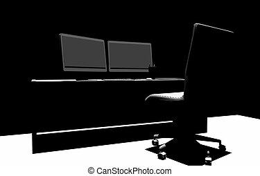 Designer Desk 3D Silhouette