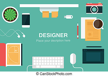 designer desk header flat icon style vector illustration