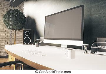 Designer desktop closeup