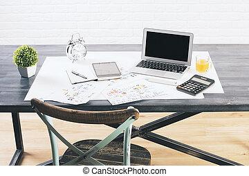 Designer desktop closeup - Closeup of dark designer desktop...