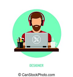 Designer freelancer working on laptop
