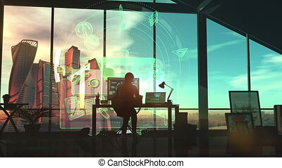 Designer in his office on a background of infographics.